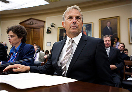 Actor Kevin Costner prepares to testify at the House Science and Technology Energy and Environment Subcommittee on Wednesday.