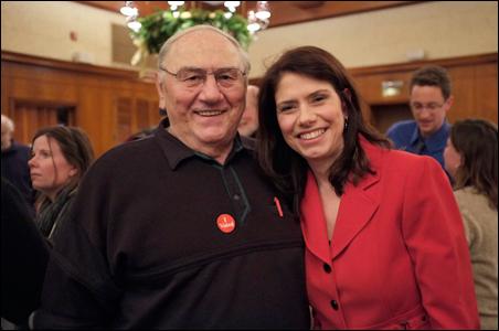 Kari Dziedzic celebrating her primary victory with her father Walt on Tuesday night.