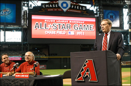 Bud Selig spoke last year during a 2011 MLB All-Star Game promotional news conference in Phoenix.