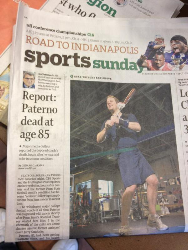 The Sunday state edition sports front