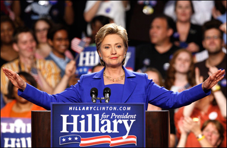 Sen. Hillary Rodham Clinton addresses supporters Tuesday night in New York.