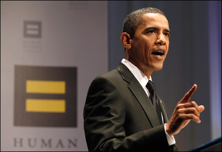President Barack Obama addresses the audience at the Human Rights Campaign annual dinner in Washington, Saturday, Oct. 10, 2009.