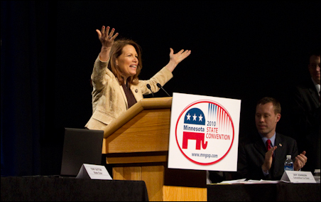 Rep. Michele Bachmann addresses convention attendees.