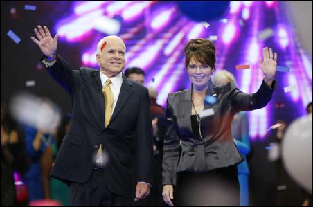The GOP ticket: Sen. John McCain and Gov. Sarah Palin acknowledge delegates' enthusiasm.