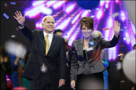 The GOP ticket: Sen. John McCain and Gov. Sarah Palin acknowledge delegates' enthusiasm.