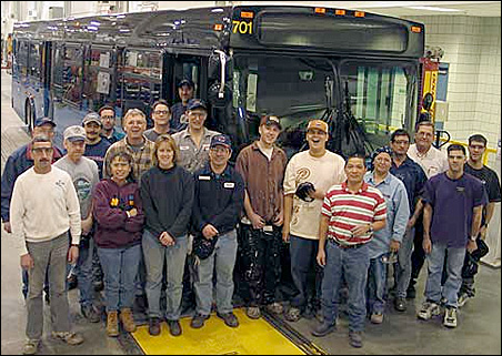 Workers at New Flyer's bus manufacturing plant in St. Cloud.