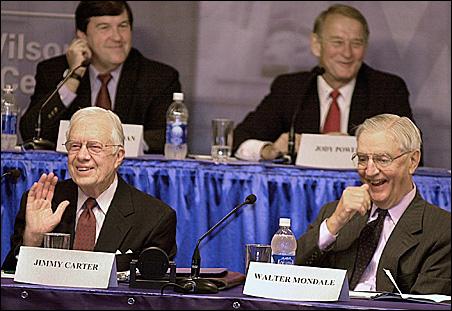 Former U.S. President Jimmy Carter, left, and former Vice President Walter Mondale