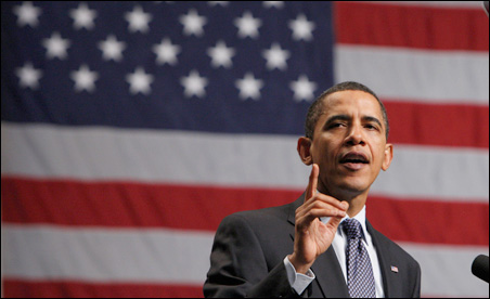 President Barack Obama speaks at a campaign rally for New Jersey Governor Jon Corzine in Camden, New Jersey, on Sunday.