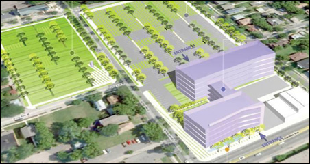This rendering shows the proposed design for the headquarters' parking lot.