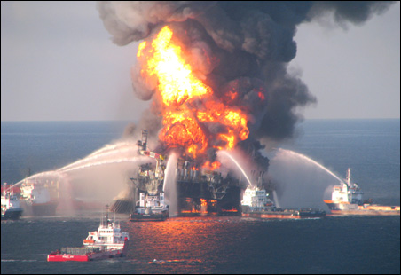 Fire boat response crews battled the blazing remnants of the off shore oil rig Deepwater Horizon in this photo taken on April 21.