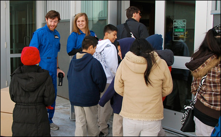 """Instructors Tim """"Igneous"""" Swanson and Alyssa """"Joule"""" Heser welcome students to Starbase Minnesota."""