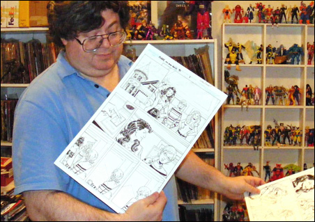 Gordon Purcell shows off some of his comics line work, and his comic book collection, at his home in Plymouth.