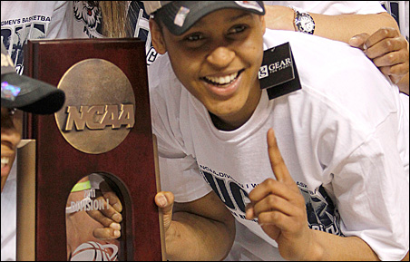 Maya Moore celebrates after the Huskies defeated the Duke Blue Devils in their NCAA Philadelphia regional final college game in March.