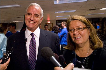 Mark Dayton and running mate Yvonne Prettner Solon met with reporters late Tuesday night.