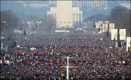 People assembling on The Washington Mall
