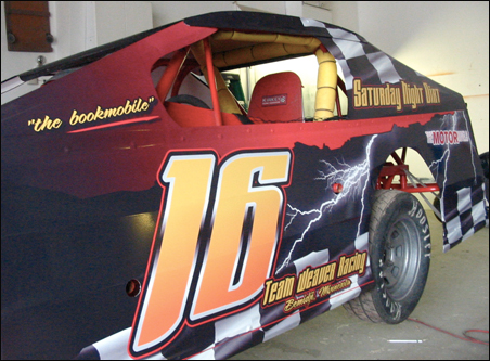Not Viagra, not cell phones, not laundry soap: Number 16 may be the first race car in the world used to promote books.