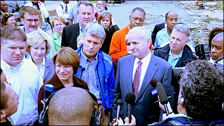From left, Speaker Zellers, Sen. Klobuchar, Mayor Rybak and Gov. Dayton spoke to the press after touring parts of North Minneapolis hit by Sunday's severe weather.