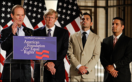 Attorney David Boies, left, speaks during a joint news conference with attorney Theodore Olson and plaintiffs Paul Katami and Jeff Zarrillo in San Francisco, California, on Wednesday.