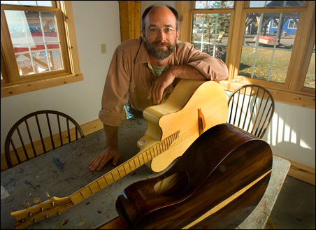 David Seaton uses local materials and unusual design elements in his guitars.