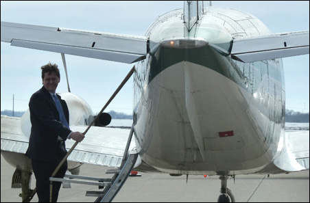 House Majority Leader Matt Dean prepares to leave the Mankato airport during February's tour of the state by GOP leaders.