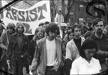 Members of the Minnesota 8 march in a Vietnam War protest.