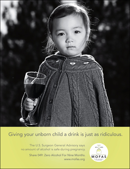 A poster created by MOFAS designed to deter drinking during pregnancy.