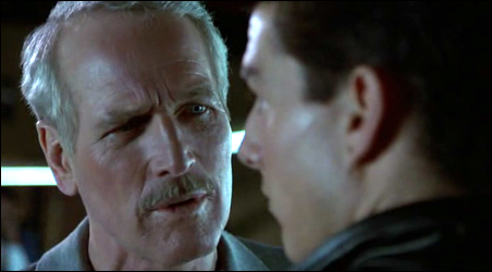 """Paul Newman fails to communicate with Tom Cruise in """"The Color of Money."""""""