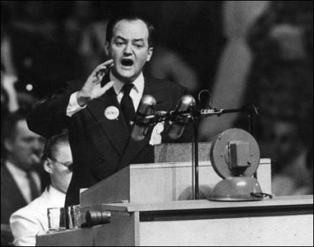Hubert H. Humphrey speaking at the 1948 Democratic national convention in Philadelphia.