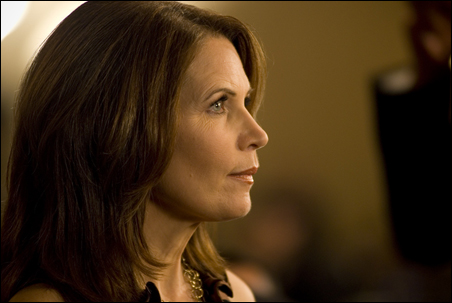 Rep. Michele Bachmann awaiting the start of her interview with Fox Business Channel on Tuesday evening.