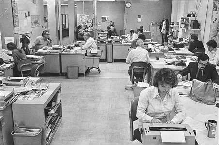 The newsroom of the Duluth News-Tribune back in 1978. Laurie Hertzel is at the far left.