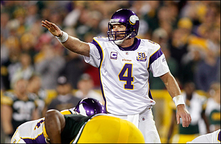 Brett Favre calls an audible at the line of scrimmage with less than two minutes remaining in the game.