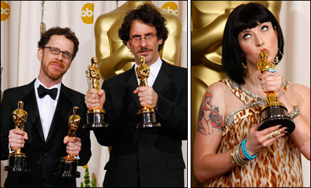 Directors Ethan (far left) and Joel Coen and screenwriter Diablo Cody pose with their Oscars backstage at the 80th annual Academy Awards.