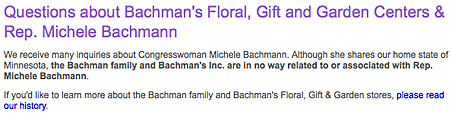 No roses for Michele? Bachman's Floral makes point of distancing itself