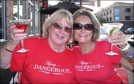 Aging But DANGEROUS founders Jean Ketcham, left, and C. Suzanne Bates.