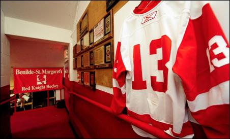 Jack Jablonski's hockey jersey hanging in the halls of Benilde-St. Margaret High School.