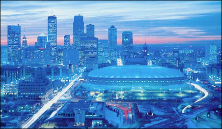 A 1991 photo of the Hubert H. Humphrey Metrodome.