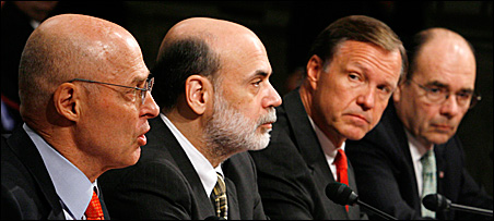 Testifying Tuesday before the Senate Banking Committee were, from left, Treasury Secretary Henry Paulson, Federal Reserve Chairman Ben Bernanke, SEC Chairman Chris Cox and Federal Housing Finance Agency Director James Lockhart III.