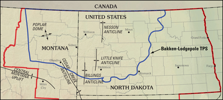 A map showing the Williston Basin Province boundary, in red, and the  Bakken-Lodgepole Total Petroleum System in blue.