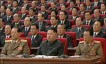Kim Jong-un, front row, center, youngest son of Kim Jong-il, attends a meeting of the ruling Workers' Party in Pyongyang on Sept. 28.