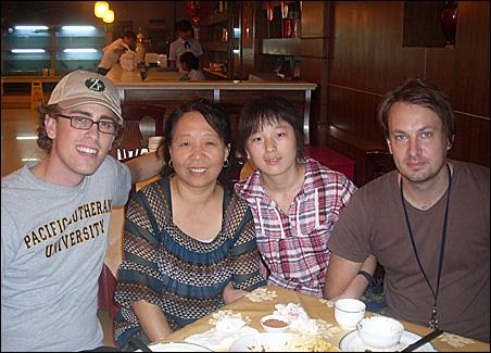 Ben, Auntie, her coworker LiuLiu and Ben's friend Bjorn at dinner in Beijing