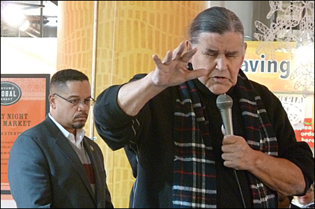 """Indian leader Clyde Bellecourt's prayer opened the """"Congress on Your Corner"""" event."""
