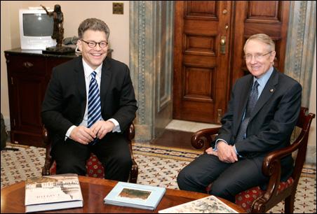 Al Franken meeting with Senate Majority Leader Harry Reid in Reid's Capitol Hill office in Washington last month.
