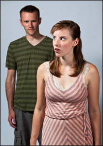 "Anna Sundberg and Jospeh Bombard in Walking Shadow's production of ""Reasons to be Pretty"""