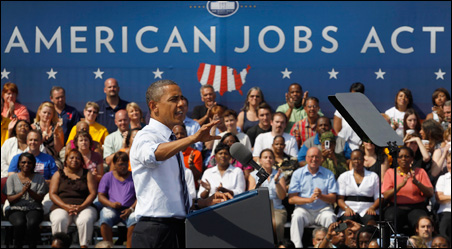 President Barack Obama speaking about his jobs bill at Fort Hayes Arts and Academic High School in Columbus, Ohio, on Tuesday.