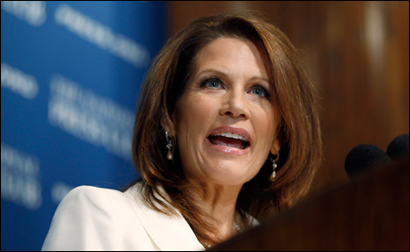 Rep. Michele Bachmann speaking at a National Press Club luncheon on Thursday.
