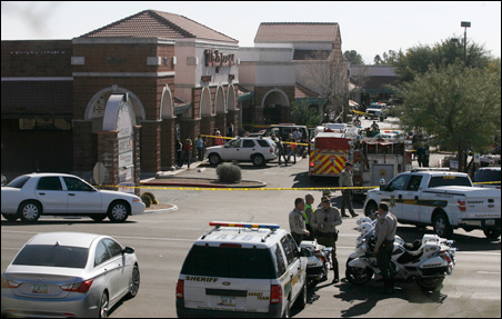 The scene outside a Safeway in Tucson, Ariz., hours after Rep. Gabrielle Giffords was shot Saturday.