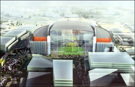 """Ellerbe Beckett's rejected design for a """"reconstructed"""" Metrodome."""