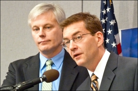 DFL Rep. Paul Thissen, left, and Sen. Scott Dibble offered their analysis.