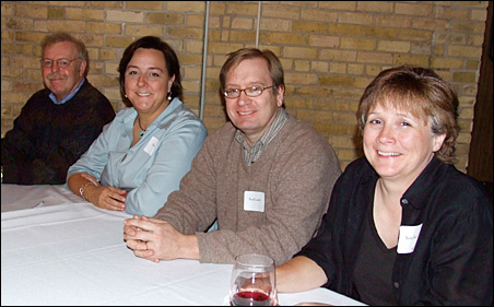 MinnPost members team for the trivia challenge: Marshall Tanick, Sheila Smith, Brad Lundell and Becky Beyers.