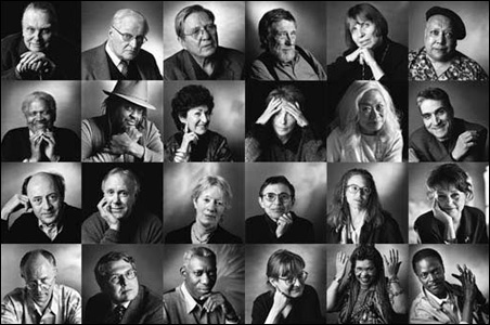 A sampling of Margaretta K. Mitchell's photos of 40 poets for show at Open Book.